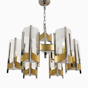 Lampadario con 9 luci in vetro e placcato in cromo di Gaetano Sciolari, anni '60