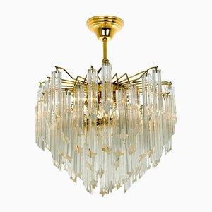 Große Dreistufiger Kristallglas Kronleuchter von Venini, 1960er