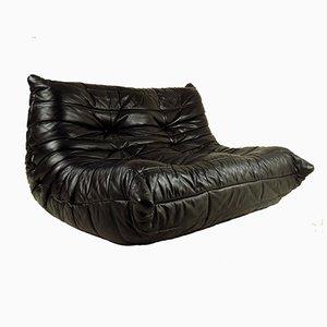 Black Leather Togo Sofa by Michel Ducaroy for Ligne Roset, 1970s