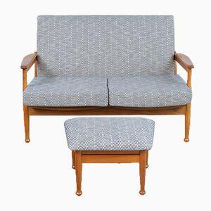 Afromosia Manhattan Zwei-Sitzer Sofa mit Hocker von George Fejer & Eric Phamphilon für Guy Rogers, 1960er