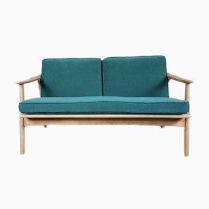 Mid-Century Two-Seater Teal Velvet Studio Sofa