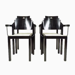 Schwarz & Weiße Stühle von Thonet, 1990, 4er Set