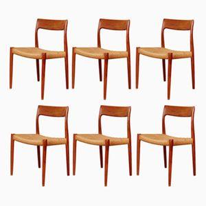 Teak Dining Chairs No. 77 by Niels O. Møller Moller for J.L.Møller, Set of 6