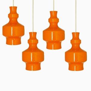 Vintage Orange Glass Pendants from Raak, 1960s, Set of 4