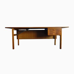 Swedish Walnut Desk with Braided Back Panel, 1950s