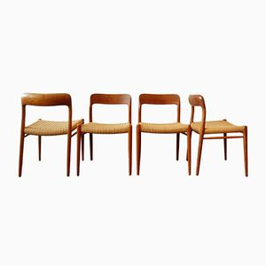 Danish Model 75 Dining Chairs by Niels O. Møller, Set of 4
