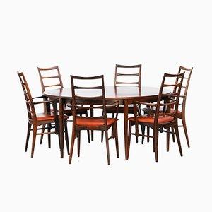 Dänischer Vintage Palisander Tisch und 6 Stühle von Niels Koefoed
