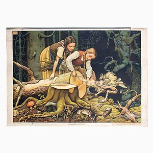 Fairy Tale Wall Chart of Snow White and Rose Red by Adalbert Pilch, 1951