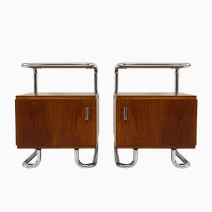 Bauhaus Tubular Steel Night Stands from Hynek Gottwald, 1930s, Set of 2