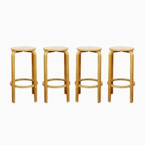 Vintage Bar Stools by Alvar Aalto, Set of 4