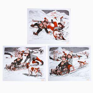 Stampe raffiguranti l'inverno, 1972, set di 3
