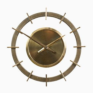 Vintage German Brass and Glass Wall Clock