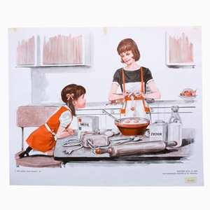 Wall Chart Illustrating How to Bake a Cake Part 1, 1972