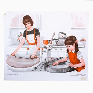 Stampa raffigurante la preparazione di una torta parte 2, 1972