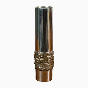 German BMF Metal Cylinder Vase, 1960s