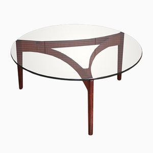Rosewood & Glass Coffee Table by Sven Ellekaer for Christian Linneberg