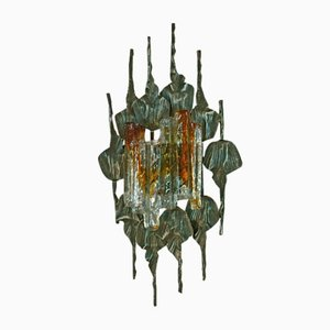 Large Brutalist Glass & Iron Sconce by Tom Ahlström & Hans Ehrlich for A&E Lighting Company, 1960s