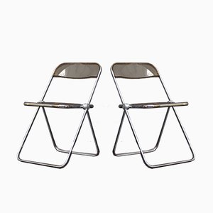Chrome & Perspex Folding Chairs by Giancarlo Pirett for Castelli, 1960s, Set of 2