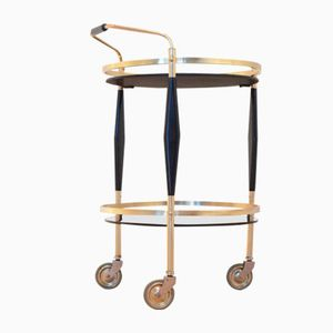 Vintage French Black & Brass Neo-Classical Serving Trolley Table