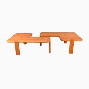 Pine Coffee Tables by Aksel Kjersgaard for Odder Furniture, 1960s, Set of 2