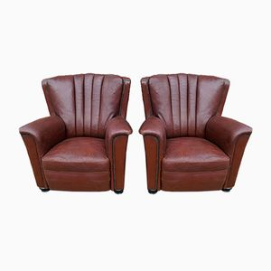 Italian Leather Chairs from Artifort, 1950s, Set of 2