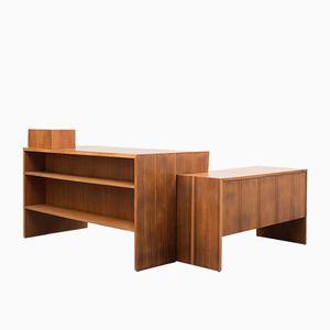 Walnuss Schreibtisch in L-Form, 1950er