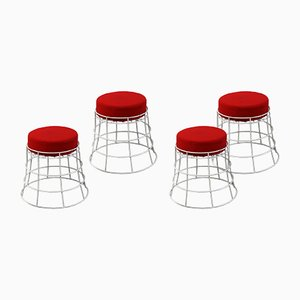 French Mid-Century Wire Garden Stools, Set of 4