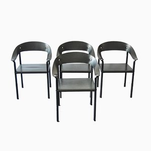 Vintage Black Leather & Black Lacquered Metal Dining Chairs, Set of 4
