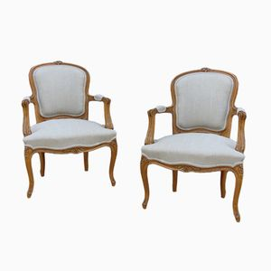 Antique Carved Beech Armchairs, Set of 2