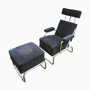 Vintagte Reclining Lounge Chair with Ottoman