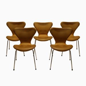 Vintage Model 3107 Aniline Leather Chairs by Arne Jacobsen for Fritz Hansen, Set of 5