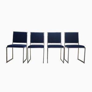 Brass & Chrome Chairs by Willy Rizzo, 1970s, Set of 4