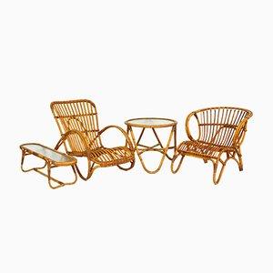 Rattan Garden Lounge Set from Rohé Noordwolde, 1950s