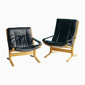 Black Leather Siesta Lounge Chairs by Ingmar Relling for Westnofa, 1970s, Set of 2