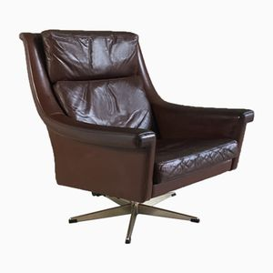 Mid-Century Danish Brown Leather Reclining Swivel Armchair