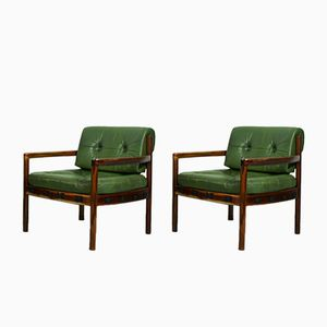 Mid-Century Swedish Dark Green Leather Armchair by Arne Norell, 1960s