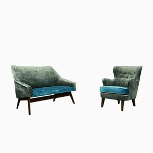 Mid-Century Lounge Set Loveseat & Lounge Chair Model 202 by Theo Ruth for Artifort