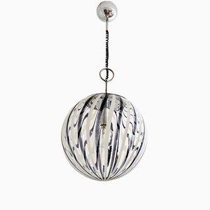 Murano Black & White Glass Globe Pendant Light, 1970s