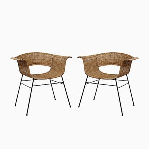 Rattan Chairs, 1960s, Set of 2