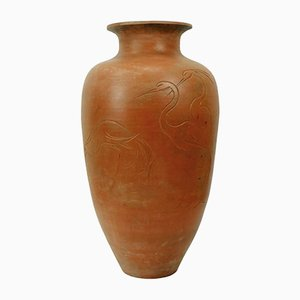 Large Ceramic Floor Vase with Heron Motif, 1950s