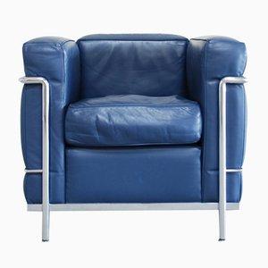 Blauer Vintage Modell LC2 Ledersessel von Le Corbusier für Cassina