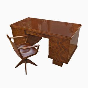 Art Deco Schreibtisch aus Walnuss, 1930er