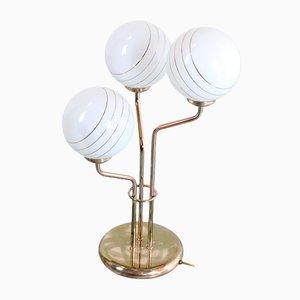 Lampada da tavolo vintage in ottone e vetro