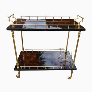 Large Italian Dark Brown Lacquered Goatskin Bar Cart by Aldo Tura, 1970s