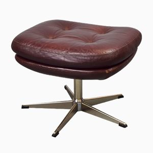 Danish Burgundy Leather Footstool from Genega, 1960s