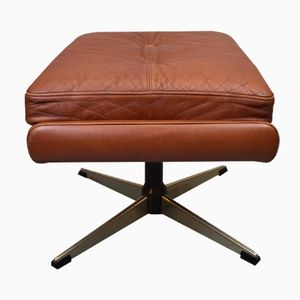 Danish Red Leather Swivel Footstool by Svend Skipper for Skippers Møbler, 1960s
