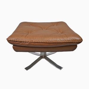 Danish Brown Leather Swivel Footstool by Arne Norell for Vatne Møbler, 1960s