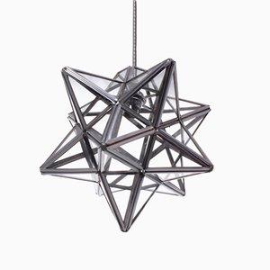 Lanterna a forma di stella in metallo color argento, anni '80