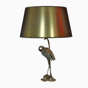 Vintage Sculptural Bronzed Iron Heron Table Lamp from Maison Baguès