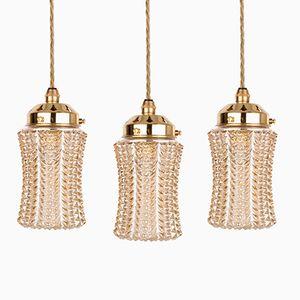 Vintage Rose Gold Glass Pendants, Set of 3